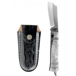 Canivete inox cabo em alumínio com bainha de couro mod. 59/3