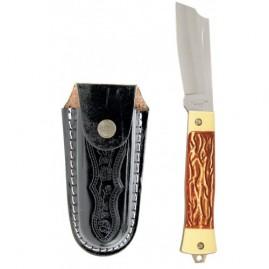 Canivete inox cabo em acetato com bainha em couro mod. 55/3